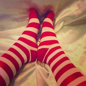 Other - Candy cane knee high socks